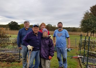 This is the main crew who work all Spring, Summer and Fall in the Trial Garden. We were just missing Kathy and Tom Davis.. Nick, Connie in the front. Rich, Valerie and John (Crazy4Dahlias.com). — with Rich Gibson, Nick Weber and John Spangenberg.